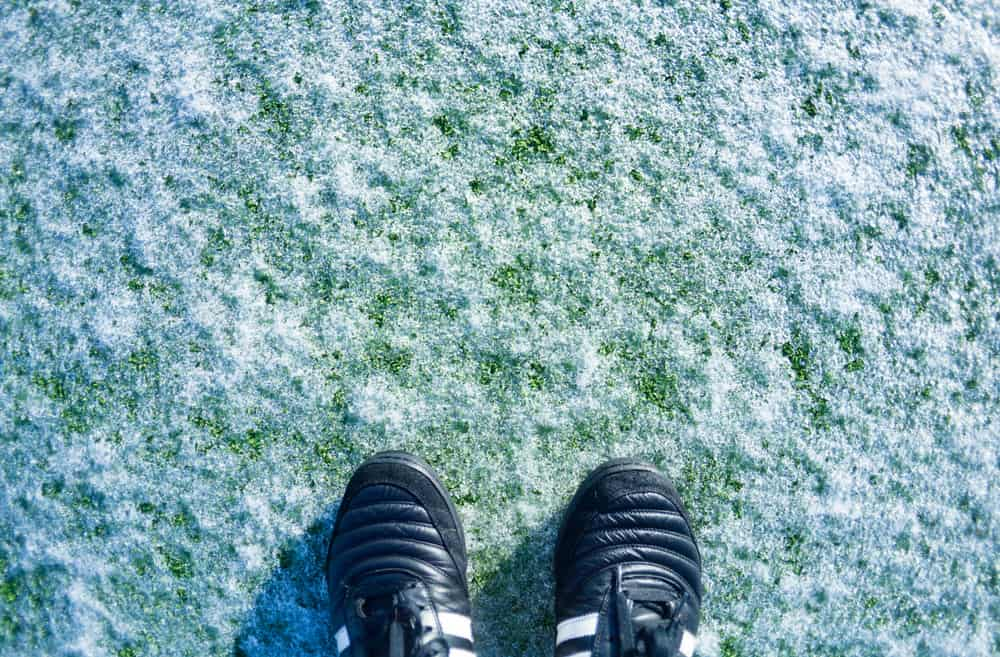 Frost covered football pitch with tops of football shoes showing
